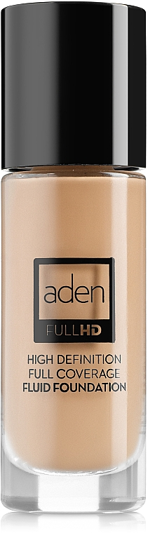Base de maquillaje fluida, cobertura total , sin aceites ni parabenos - Aden Cosmetics High Definition Fluid Foundation