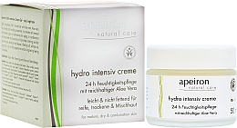 Perfumería y cosmética Crema facial de hidratación intensiva con aceite de coco, aloe vera - Apeiron Hydro Intensiv Cream 24h
