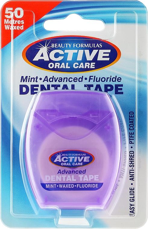 Hilo dental con aroma a menta, 50m - Beauty Formulas Active Oral Care Advanced Mint Waxed Fluor 50 m