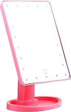 Perfumería y cosmética Espejo de maquillaje LED rectangular, rosa - Lewer