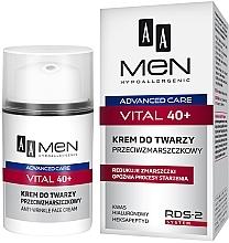 Perfumería y cosmética Crema facial antiedad con ácido hialurónico y extracto de avena - AA Men Advanced Care Vital 40+ Face Cream Anti-Wrinkle