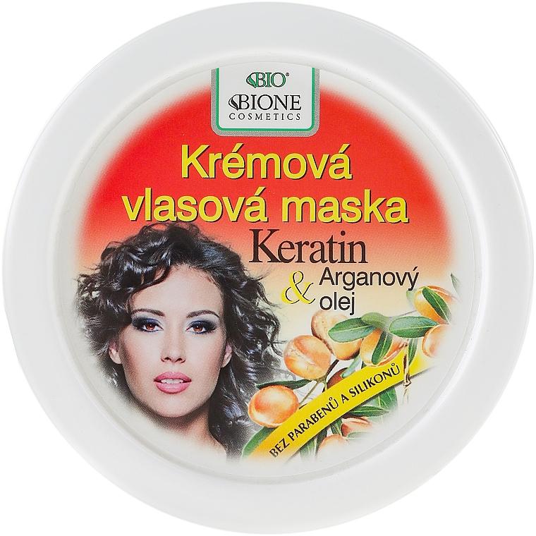 Crema mascarilla capilar con queratina y aceite de argán - Bione Cosmetics Keratin + Argan Oil Cream Hair Mask — imagen N1