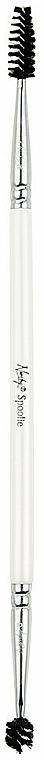 Cepillo bilateral para pestañas y cejas - Nanshy Spoolie Eyebrow&Eyelash Brush Pearlescent White — imagen N1