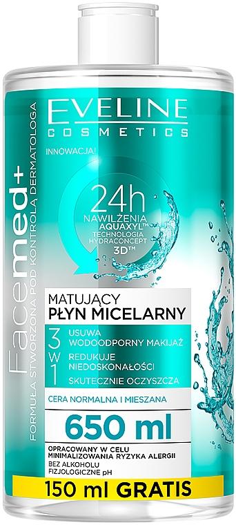 Agua micelar para ojos y labios con pantenol para pieles normales, mixtas y grasas 3 en 1 - Eveline Cosmetics Facemed+