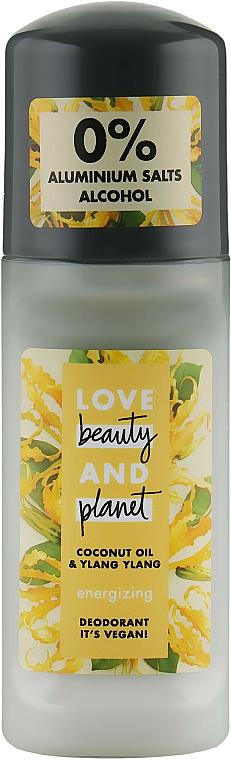 Desodorante roll-on orgánico con aceite de coco, sin alcohol - Love Beauty&Planet Deodorant Roller Coconut Oil And Ylang Ylang
