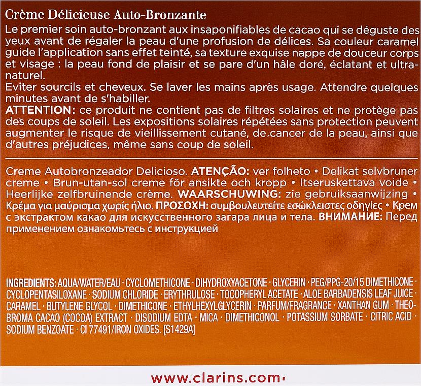 Crema autobronceadora para rostro y cuerpo con aroma a cacao - Clarins Delicious Self Tanning Cream — imagen N3