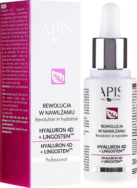 Emulsión para rostro, cuello y escote con ácido hialurónico y aceite de nuez de macadamia - APIS Professional 4D Hyaluron + Lingostem