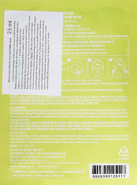 Mascarilla facial natural de algodón con vitamina C y betacaroteno - Mizon Enjoy Vital-Up Time Soothing Mask — imagen N2
