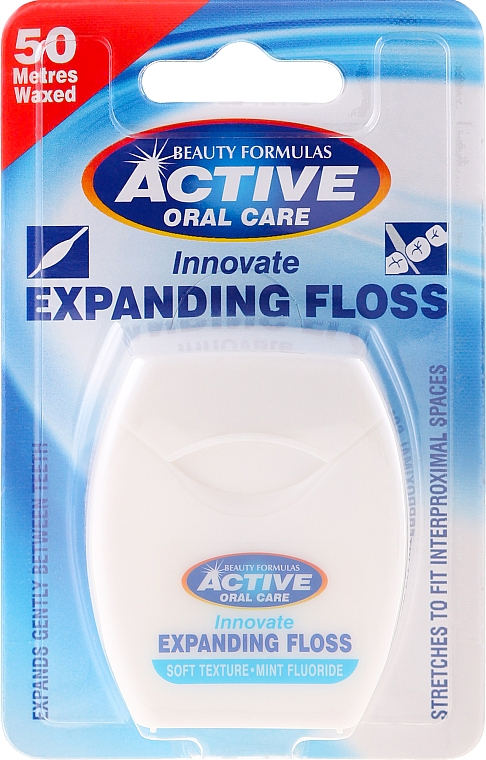 Hilo dental con cera sabor a menta - Beauty Formulas Active Oral Care Expanding Floss Mint With Fluor 50m