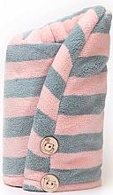 Perfumería y cosmética Toalla turbante de microfibra, rosa y gris - Trust My Sister