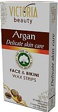 Perfumería y cosmética Bandas de cera depilatoria con aceite de argán para rostro y bikini zona - Victoria Beauty Delicate Skin Care Face & Bikini Waxing Strips Argan
