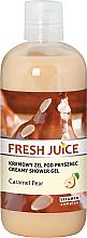 Perfumería y cosmética Crema de ducha con extracto de pera, aceite de macadamia, aroma de caramelo - Fresh Juice Caramel Pear Creamy Shower Gel