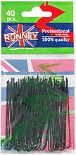 Perfumería y cosmética Horquillas de moño planas negras, 6,5cm 40uds. - Ronney Black Hair Pins