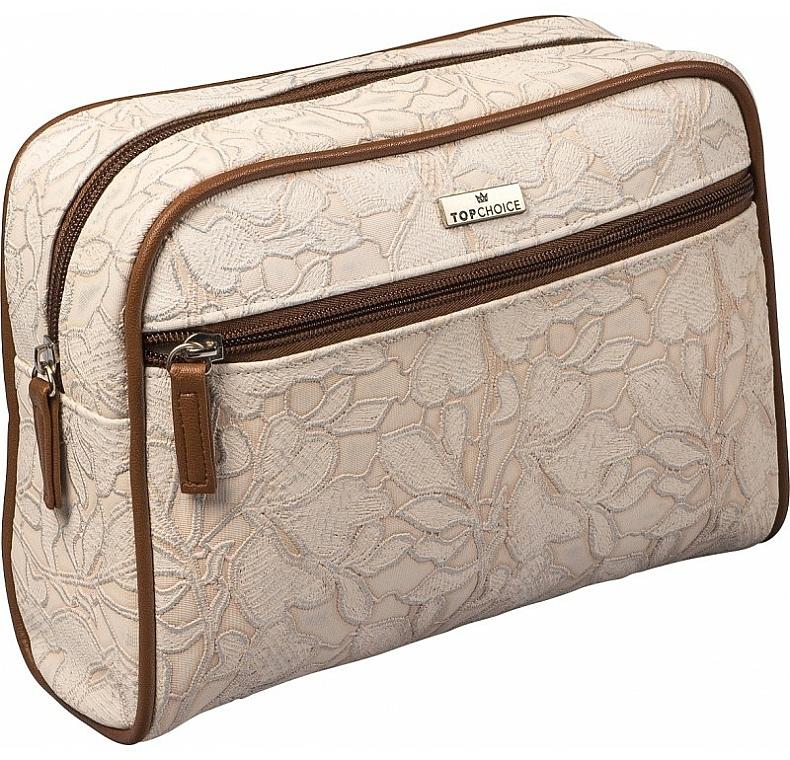 Neceser cosmético beige y marrón, 98628 (25x17,5x8,5cm) - Top Choice Lace