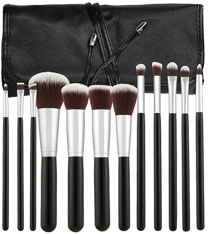 Set profesional de brochas y pinceles de maquillaje, 12uds., negro - Tools For Beauty — imagen N1