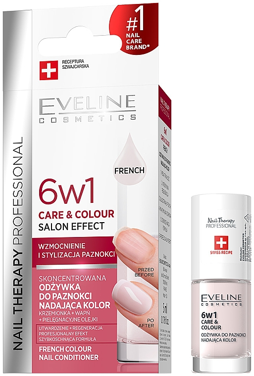 Esmalte de uñas, cuidado y color 6en1 - Eveline Cosmetics Nail Therapy Professional