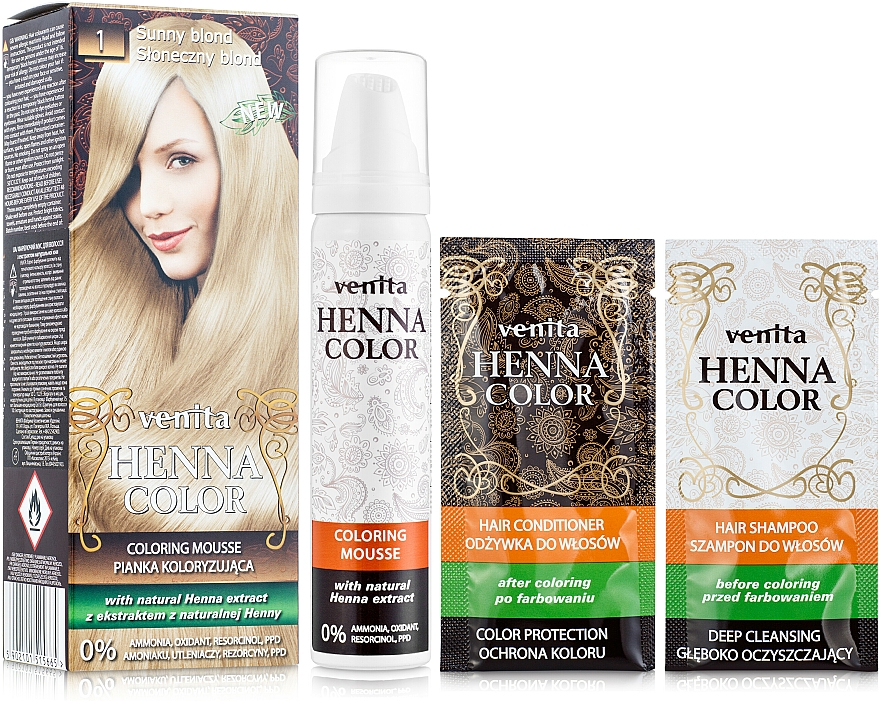 Mousse colorante de cabello con henna sin amoníaco - Venita Henna Color Coloring Mousse — imagen N1