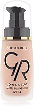 Perfumería y cosmética Base de maquillaje de alta cobertura y larga duración con efecto mate, SPF 15 - Golden Rose Longstay Matte Foundation