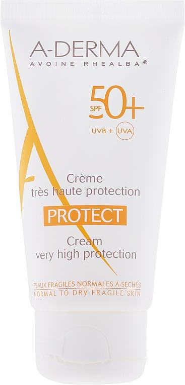 Crema de protección solar resistente al agua, pieles normales a secas, SPF 50+ - A-Derma Protect Cream Very High Protection SPF 50+ — imagen N2