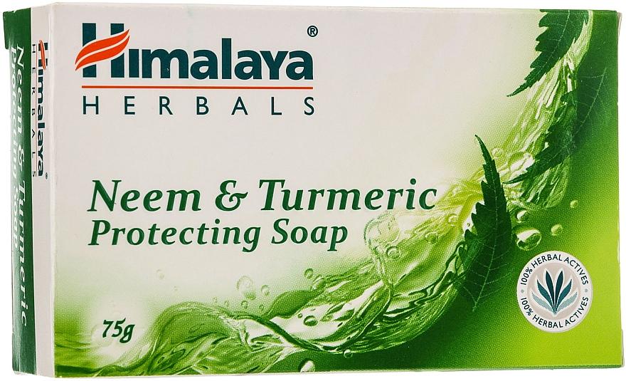 Jabón sólido hipoalergénico con aceite de neem y cúrcuma - Himalaya Herbals Neem & Turmeric Protecting Soap