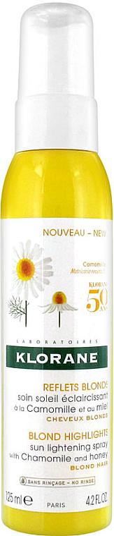 Spray reflejos dorados con extracto de miel y camomila - Klorane Blond Highlights Sun Lightening Spray With Chamomile And Honey — imagen N1