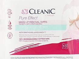 Perfumería y cosmética Toallitas desmaquillantes de algodón 100% biodegradable, 10uds - Cleanic Pure Effect Moisturizing