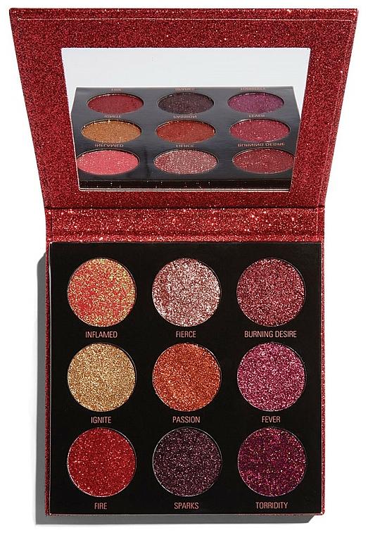 Paleta de sombras de ojos brillantes con espejo - Makeup Revolution Pressed Glitter Palette Hot Pursuit