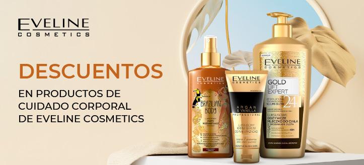 Descuentos en productos de cuidado corporal de Eveline Cosmetics. Los precios indicados tienen el descuento aplicado