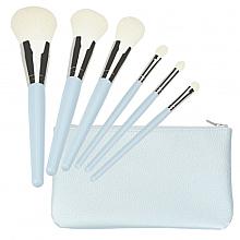 Perfumería y cosmética Set brochas y pinceles de maquillaje, 6uds. + neceser, azul - Tools For Beauty Set Of 6 Make-Up Brushes