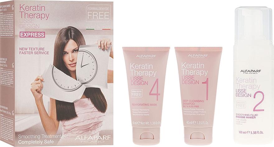 Set de cuidado de cabello - Alfaparf Milano Lisse Design Keratin Therapy Smoothing Treatment Kit (champú/40ml + mousse/100ml + mascarilla/40ml)