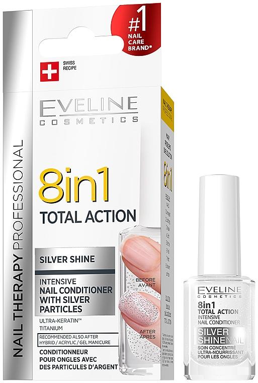 Esmalte de uñas restaurador 8 en 1 - Eveline Cosmetics 8in1 Silver Shine Nail Therapy