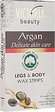 Perfumería y cosmética Bandas de cera depilatoria con aceite de argán - Victoria Beauty Delicate Skin Care Legs & Body Waxing Strips Argan