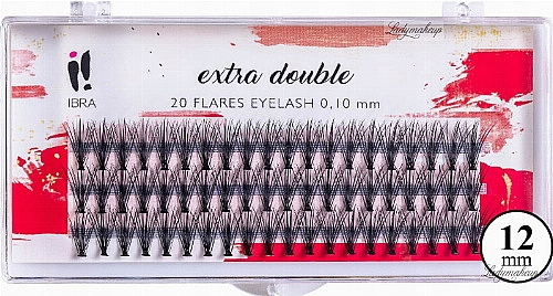 Pestañas postizas individuales - Ibra Extra Double 20 Flares Eyelash C 12 mm