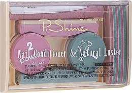 Perfumería y cosmética P.Shine - Set de manicura (pasta de uñas/8g + polvo de uñas/5g + pulidores/5uds. + lima de uñas/1ud. + removedor de cutículas/1ud.)