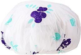 Perfumería y cosmética Gorro de ducha, 9298, blanco con violeta - Donegal Shower Cap