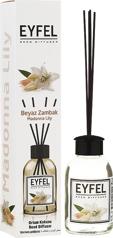 Ambientador Mikado con aroma a lirio blanco - Eyfel Perfume Reed Diffuser Madonna Lily