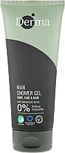 Gel de ducha para cuerpo, rostro y cabello con vitamina E sin perfume - Derma Man Body Face & Hair Shower Gel — imagen N1