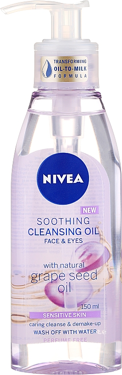 Aceite limpiador para piel sensible - Nivea Cleansing Oil Soothing Grape Seed