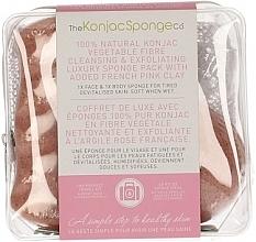 Perfumería y cosmética Esponja de limpieza facial Konjac 100% natural con arcilla rosa - The Konjac Sponge Company Travel/Gift Sponge Bag Duo Pack French Pink Clay