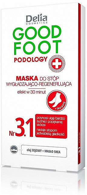 Mascarilla para pies regeneradora con aceite de soja y manteca de karité - Delia Cosmetics Good Foot Podology Nr 3.1