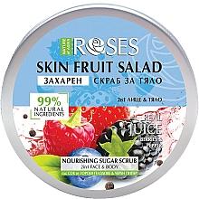 Perfumería y cosmética Exfoliante de azúcar para rostro y cuerpo con extracto de pimienta negra y jugos de frutos de bosque - Nature of Agiva Roses Body Fruit Salad Nourishing Sugar Scrub