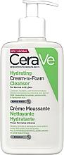 Perfumería y cosmética Crema-espuma facial limpiadora con ácido hialurónico - CeraVe Hydrating Cream To Foam Cleanser For Normal To Dry Skin