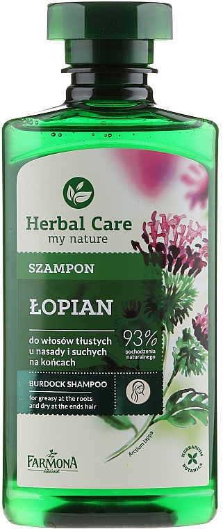 Champú para raícez grasas y puntas secas con bardana - Farmona Herbal Care Shampoo