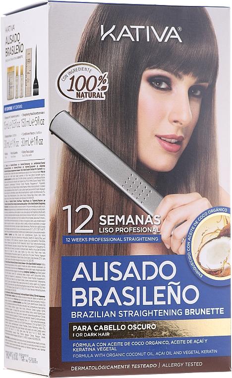 Set de alisado brasileño para cabello oscuro - Kativa Alisado Brasileno Straighten Brunette (champú pre tratamiento/15ml + mascarilla/150ml + champú/30ml + acondicionador/30ml + brocha/1ud + par de guantes/1ud)