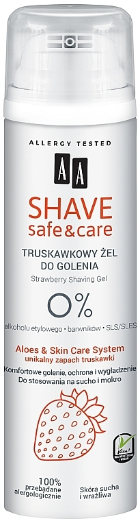 Gel de afeitado con extracto de fresa - AA Shave Safe & Care Strawberry Shaving Gel