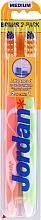 Perfumería y cosmética Cepillos dentales de dureza media, naranja y verde, 2uds - Jordan Advanced Medium