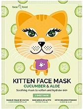 Perfumería y cosmética Mascarilla facial de tejido calmante con extracto de pepino y aloe vera - 7th Heaven Face Food Kitten Face Mask Cucumber & Aloe