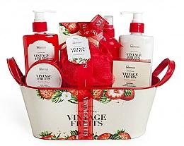 Perfumería y cosmética IDC Institute Vintage Fruits - Set corporal (gel de ducha/250ml+ loción/250ml+ exfoliante/120ml+ sales de baño/100g+ spray/100ml+ jabón/100g+ esponja+ cesta)