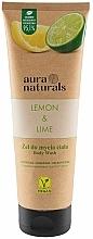 Perfumería y cosmética Gel de ducha refrescante con extractos de limón y lima, vegano - Aura Naturals Lemon & Lime Body Wash