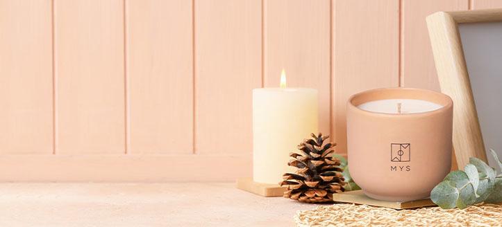 Rebajas del 10% en velas aromáticas Mys. Los precios indicados tienen el descuento aplicado